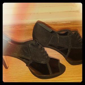 OPEN TOE~ Women Blk Heeled Shoes ~ #bundleandsave
